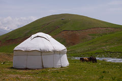 Real shepherd yurt in kyrgyzstan Tien Shan mountain Stock Photo