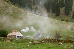 Real shepherd yurt in kyrgyzstan Tien Shan mountain Royalty Free Stock Photography
