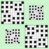 Real size crossword puzzle grids. 10x10 squares with corresponding answer grids vector illustration
