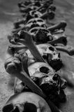 Real skulls from the bone church of Kutna Hora, Czech Republic. Black and white shot of real skulls from the bone church of Kutna Hora, Czech Republic Stock Photo