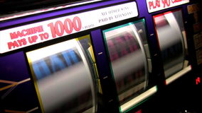 Real slot machine in action Stock Photo