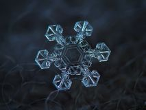 Real snowflake glowing on dark textured background. Snowflake glittering on dark woolen textured background. Macro photo of real snow crystal: small star plate stock photography