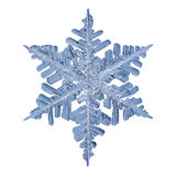 Real Snowflake Isolated.jpg. Macro shot of an ice crystal isolated on a white background Stock Images