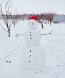 Real snowman outdoors Stock Photography