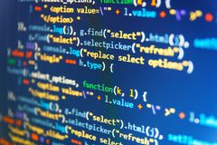 Real software development code. Running Computer data / WWW programming. IT business. Css3 code on a colorful background. Data. Real software development code royalty free stock photography