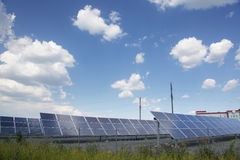 Real solar panels. On sky background Royalty Free Stock Photography