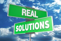 real solutions signpost... Stock Photography