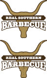 Real Southern Barbecue Symbol. Barbecue symbol/icon with cow skull silhouette. Includes clean and grunge versions. Easy to edit colors and shapes Royalty Free Stock Photography