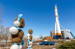 Real Soyuz spacecraft as monument Stock Photo