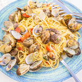 Real Spaghetti alle vongole in Naples, Italy Royalty Free Stock Photos