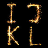 Real Sparkler Alphabet. I J K L Stock Images