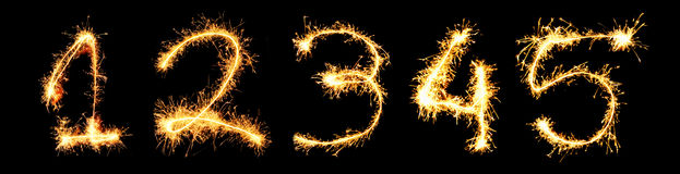 Real Sparkler Digits. 1 2 3 4 5 Royalty Free Stock Images