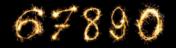 Real Sparkler Digits. 6 7 8 9 0 Stock Photos