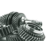 Real stainless steel gears Royalty Free Stock Photos