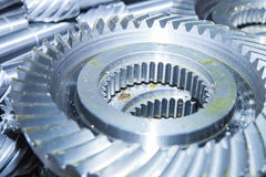 Real stainless steel gears Stock Photo