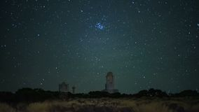 A real starfall at the station of the Astronomical Observatory for Observing Space Stars. A real starfall at the High-altitude station of the Astronomical stock footage