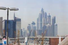 Real state, Dubai City. DUBAI, UAE - April 18: Real state, Dubai City 1, 2016 in Dubai, UAE. The Dubai Metro is a driverless, fully automated metro rail network royalty free stock image