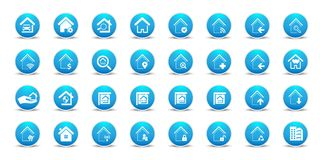 Real state  and home web icons set. Real state and home web icons set, for home  and states business in blue and white  illustration in white background Stock Images