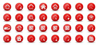 Real state and home web icons. For home  and states business in red and white  illustration in white background Royalty Free Stock Image