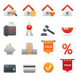 Real State Icons Set | Red Serie 01 Stock Photography