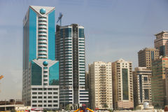 Real state, Sharjah City. Sharjah City towers, Emirates April 2016 stock image