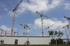 Real state speculation. Buildings construction in Berlin stock images