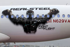 Real Steel Logo on Virgin America Airplane as Virgin America unveils new DreamWorks 'Reel Steel' plane Stock Photos