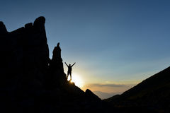 Real success story&alone in the mountains Royalty Free Stock Photos
