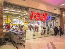 Real Supermarket Entrance Stock Image