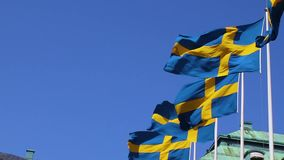 Real Swedish flags fly in the air outside. Flag Of Sweden on the background of the sky and flying clouds stock footage