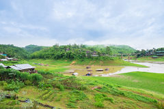 Real thailand. Mon village at Sangkhlaburi north of Kanchanaburi, Thailand royalty free stock image