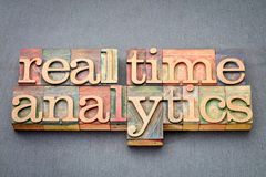 Real time analytics in wood type. Real time analytics word abstract in vintage letterpress wood type against slate stone royalty free stock image