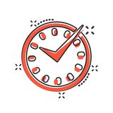 Real time icon in comic style. Clock vector cartoon illustration on white isolated background. Watch business concept splash. Effect royalty free illustration