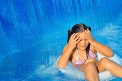 Real toddler girl at swimming pool Stock Photo