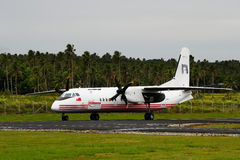Real Tonga airplane arriving at Lupepau'u International airport Royalty Free Stock Image