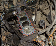 Real used opened car engine Stock Photography
