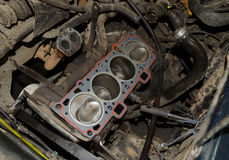 Real used opened car engine Royalty Free Stock Photo