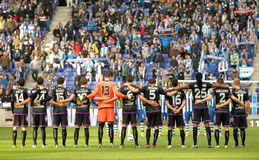 Real Valladolid team. In silence minute before a Spanish League match between Espanyol and Valladolid at the Estadi Cornella on March 3, 2013 in Barcelona Stock Photos