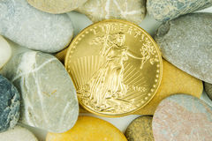 Real value hidden under pebble stones, golden american eagle Royalty Free Stock Photos