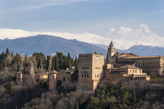 Real view of the famous Alhambra, Granada, Spain. Stock Photos