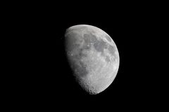 Real View Of Waxing Gibbous Moon Through Telescope. Actual photographic view of the waxing gibbous moon taken at prime focus (telescope mirror is the lens) stock photos