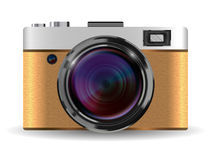 Real vintage brown compact pocket camera vector Stock Image
