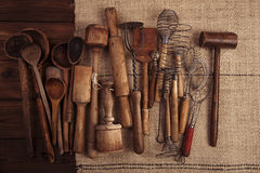 Real vintage kitchen utensils Royalty Free Stock Photos