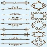 Real vintage ornate lines set Stock Photo