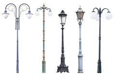 Real Vintage Street Lamp Posts And Lanterns Isolated On White Ba Royalty Free Stock Photography
