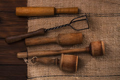 Real vintage wooden and iron mashers Stock Images