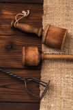 Real vintage wooden and iron mashers Royalty Free Stock Images