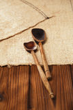 Real vintage wooden spoons Royalty Free Stock Images