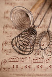 Real vintage wooden wire whisk Stock Photo