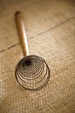 Real vintage wooden wire whisk Stock Image